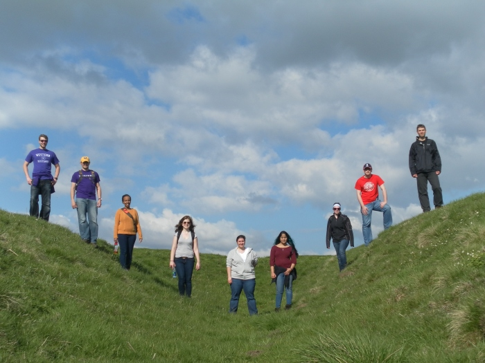The gang lining the fort ditch at Haltwhistle Burn fortlet.