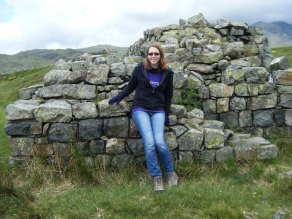 Stephanie at Hardknott Fort, gate