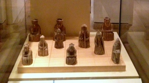 The grim-faced Lewis Chessmen probably originated in Trondheim, Norway, and may constitute some of the few complete, surviving medieval chess sets.