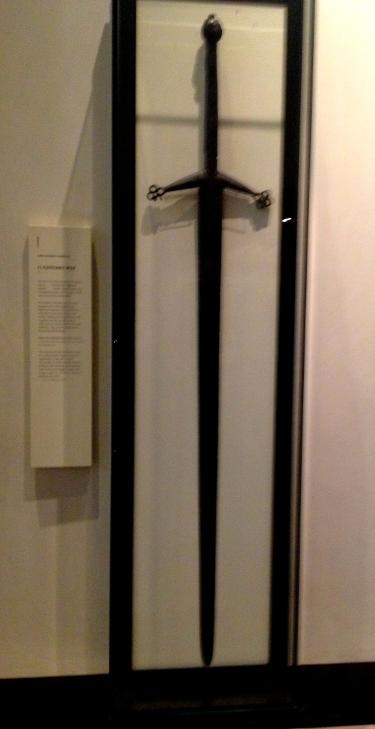 The massive claidheamh mòr, a type of medieval two-handed longsword that I would probably behead myself with if I tried to wield it.