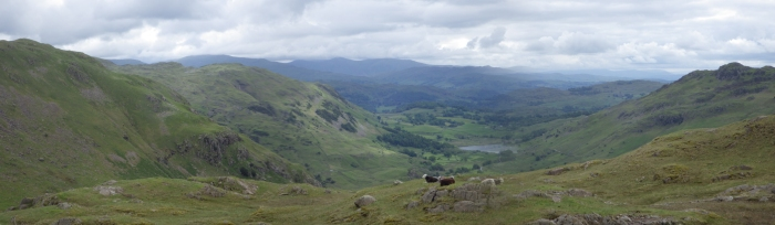 A panarama of the view from Wrynose, sadly lacking in Western Spirit.