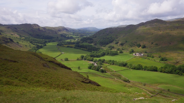 Looking from Hardknott fort to the west, toward Eskdale.