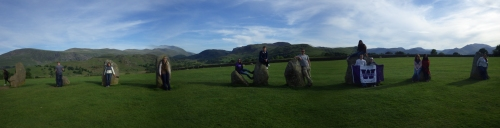 The whole gang spread around the stone circle at Castlerigg.