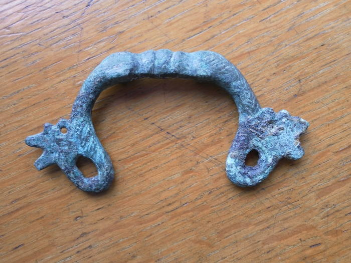 "This is our first ""What is it??"". This is a Roman artifact that we saw at the Great North Museum. It's a copper alloy object and though decorative is also actually quite handy. Let us know what you think it is!"