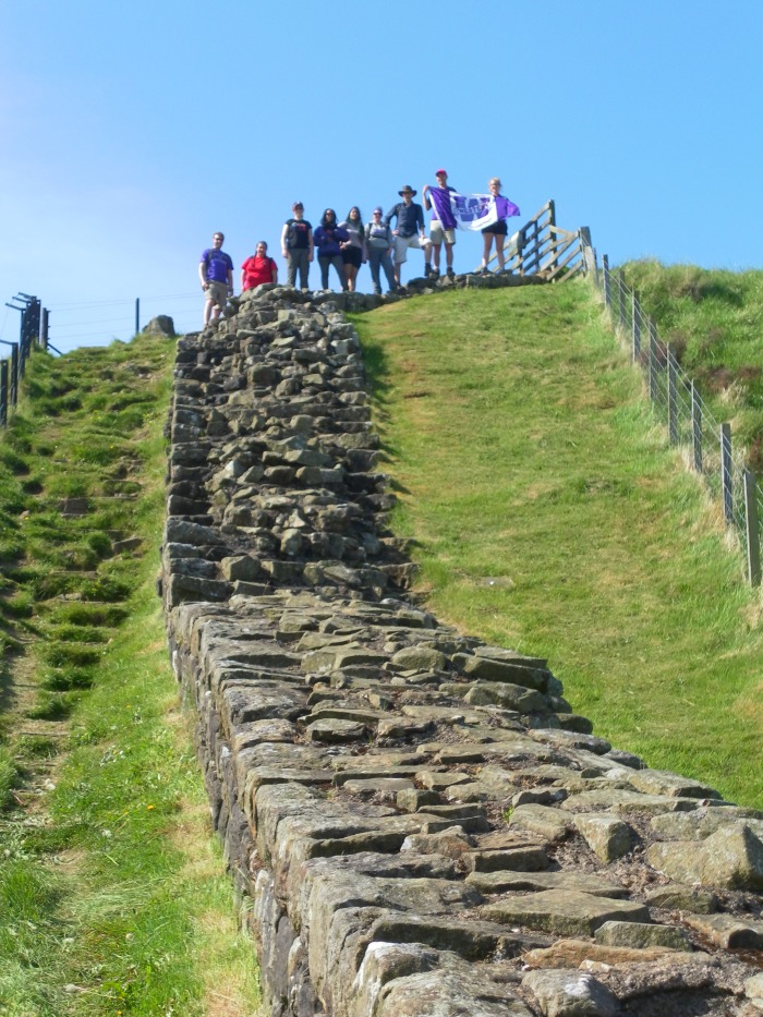 We started the hike at Cawfields Milecastle where the wall abruptly falls off into a modern quarry. Everyone is standing at the highpoint where the wall turns right and then ends at a cliff.