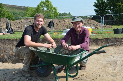 Andy Ringlet (on the right) was here excavating at Vindolanda back in 1993 (a very famous year for Vindolanda, the year of the bonfire find with many of the writing tablets). Andy decided to support the program and return to dig with the students. Here he is sieving in the barrow with Dan and trying not to laugh as I tell them to look serious and hard at work!
