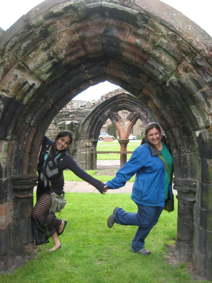 Nikki and I are ducking under  the remains of a Gothic arch - as one does.