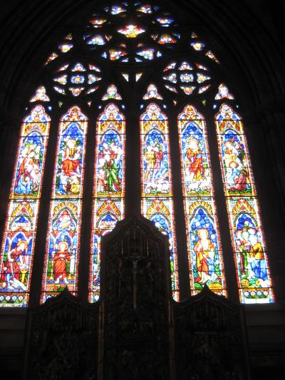 The beautiful stained glass East Window.