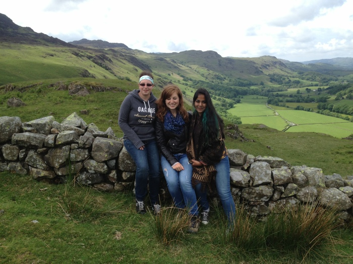 At Hardknott sitting casually on a wall