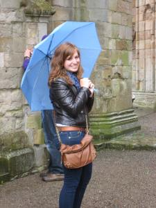 Mary in the rain