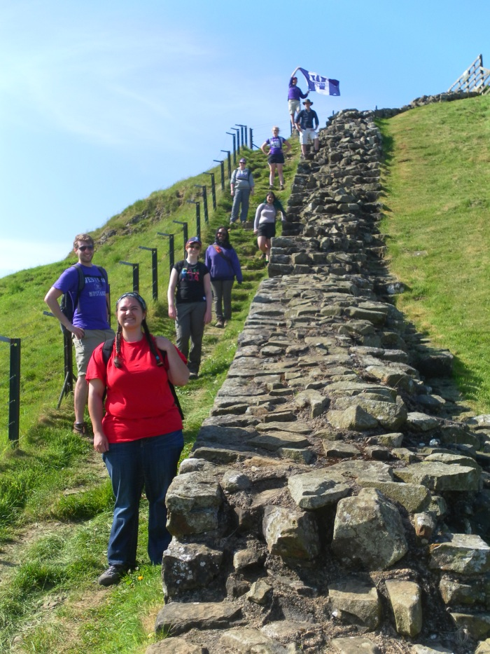 At the top of a perilous section of Hadrian's Wall near Cawfield Crags.