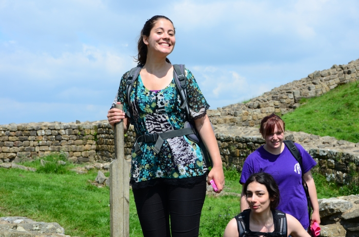 Felicia poses on the style at one of the famous Milecastles along the route.