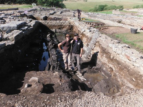 Andrew Dodd and I as volunteer Vindolanda excavators, August 2014