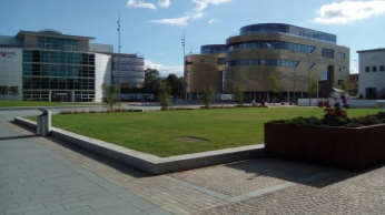 """Teeside Campus with the view of the """"Curve,"""" the central student building"""