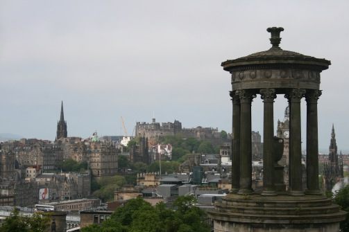 Hill side view of the city of Edinburgh as a few adventurous students hiked Arthur's Seat.