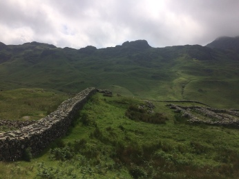 Wall of Hardknott, built on top of the bedrock